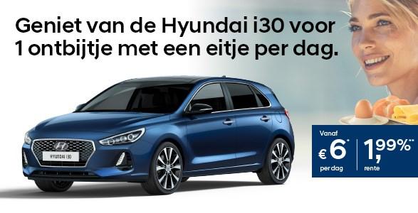 Hyundai i30, ontbijt, actie, rente, financiering