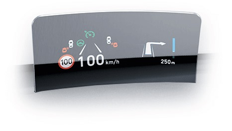 Head up display van de Hyundai KONA