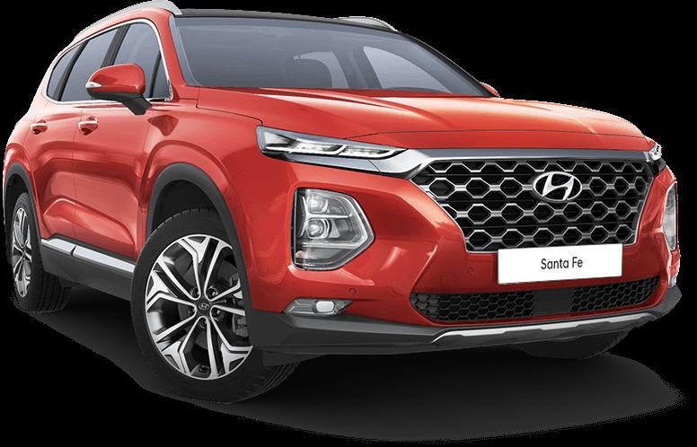 Zij-, vooraanzicht Hyundai Santa Fe