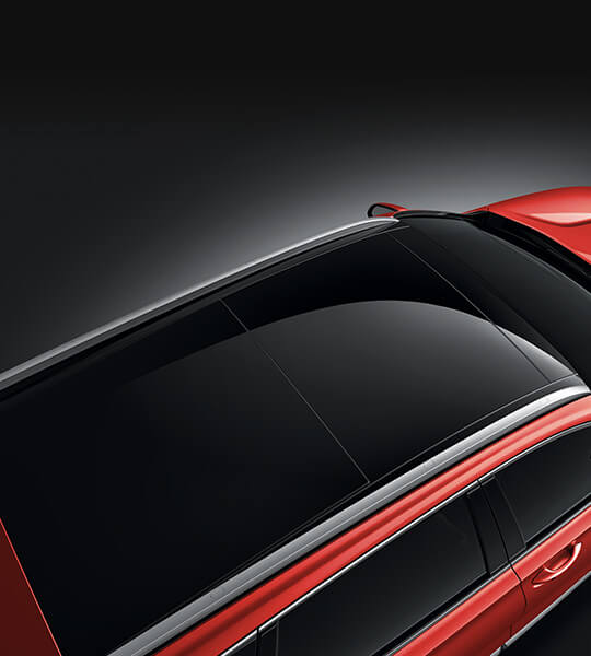 Panoramisch zonnedak van de Hyundai Santa Fe